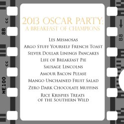 Oscar party menu
